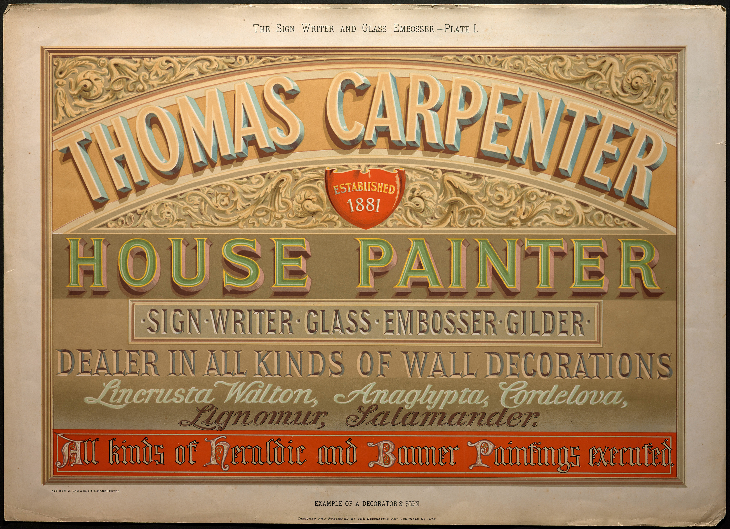 William George Sutherland, The Sign Writer and Glass Embosser (1898), Plate 1.