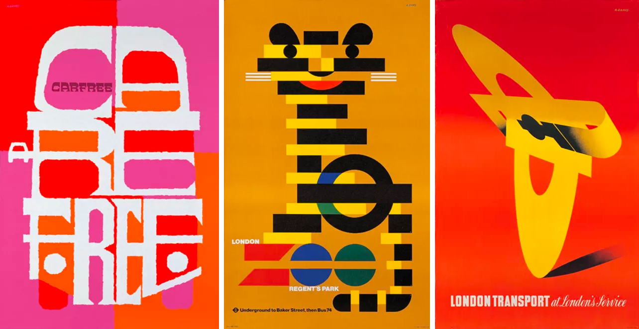 Posters for London Transport, 1967, 1975, 1947. Images: Estate of Abram Games.