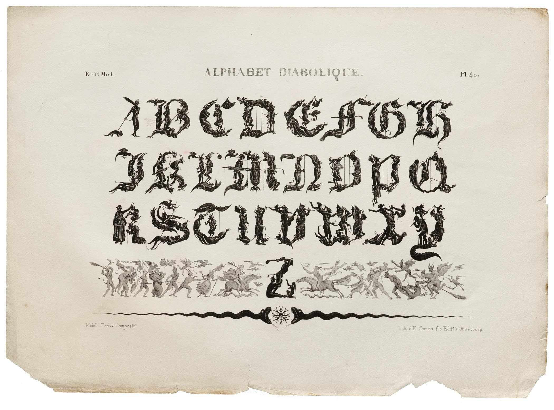 Jean Midolle, Alphabet Diabolique, Emile Simon fils press, France, 1835.