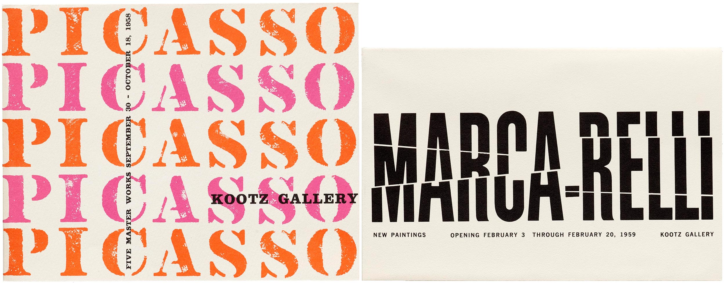 Exhibition catalogs for Picasso: The Master Works and Marca-Relli, Kootz Gallery, New York, 1958-59.