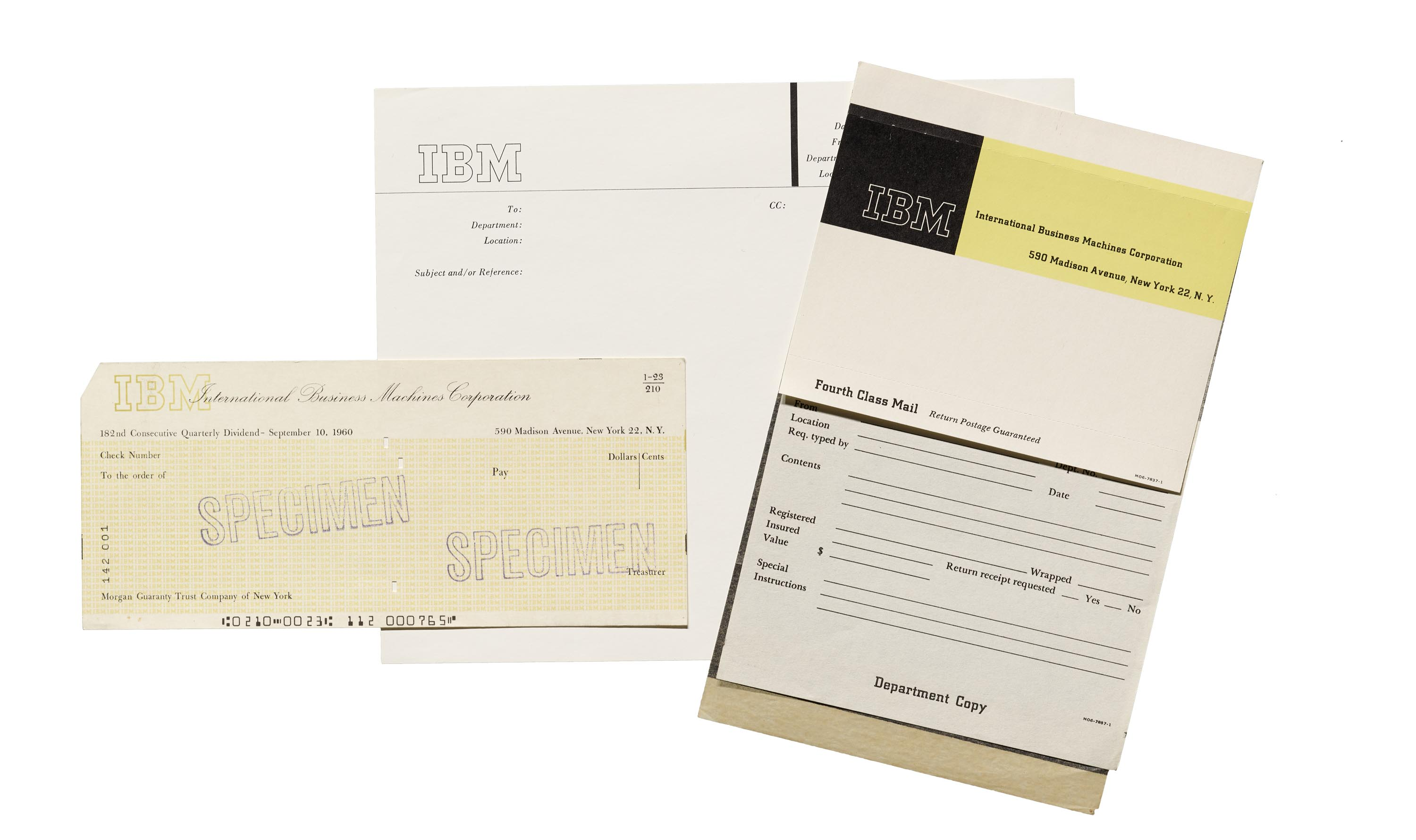 IBM check specimen, mailing label, and memo cover sheet, 1960.