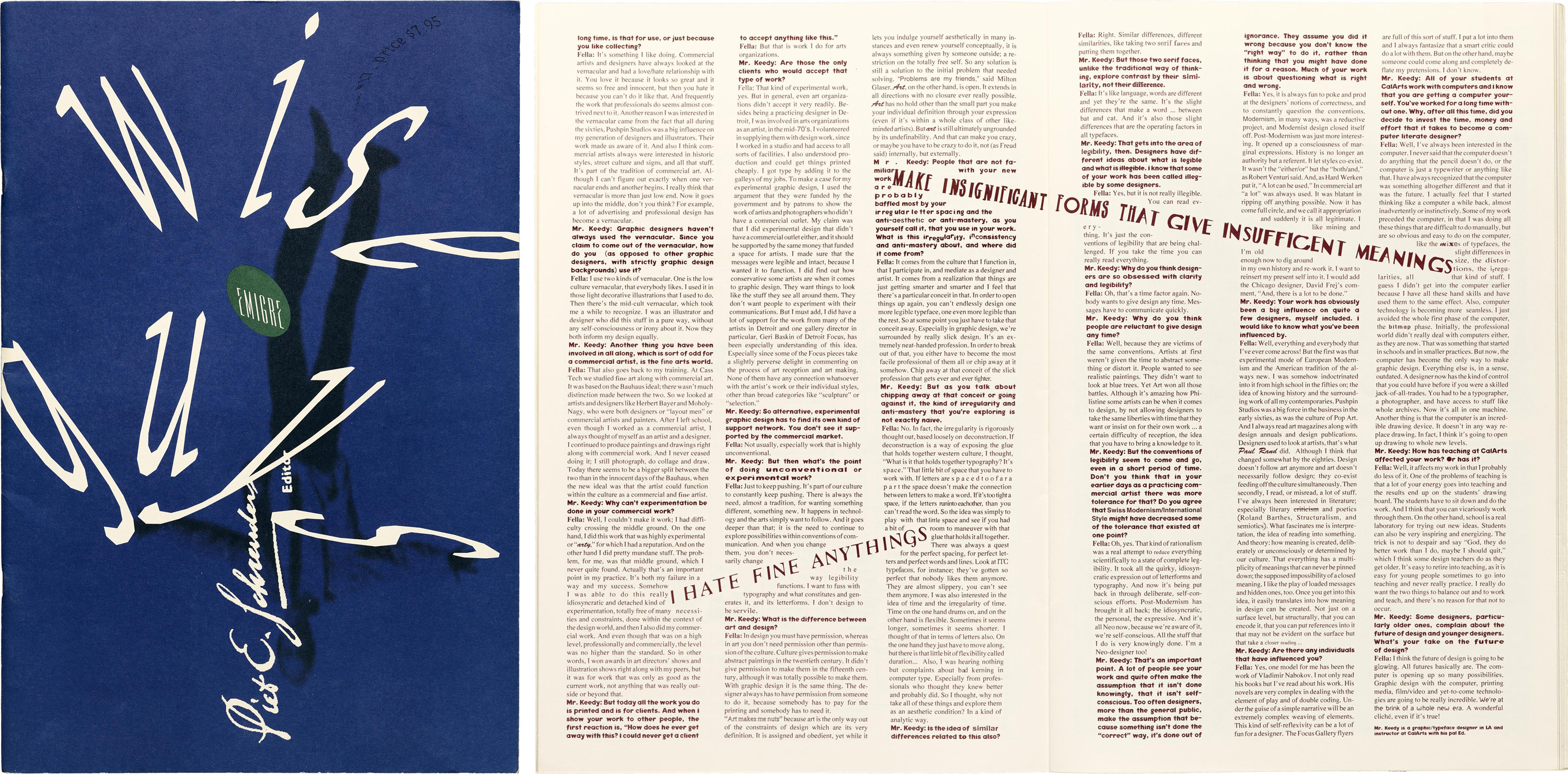 """Emigre #17, cover and page 28, from """"A conversation with Ed Fella,"""" by Mr. Keedy"""