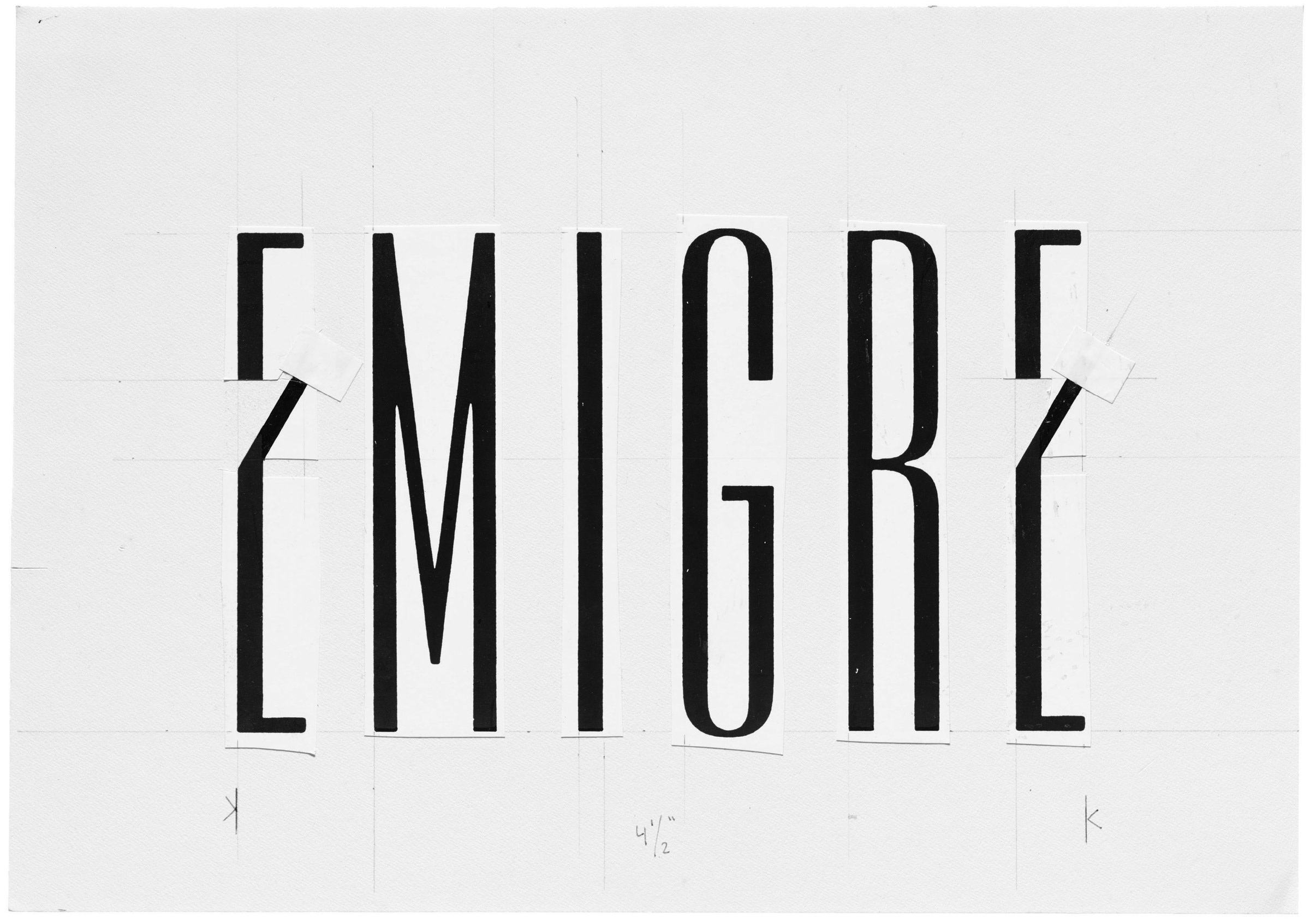 Emigre logo on pasteup board