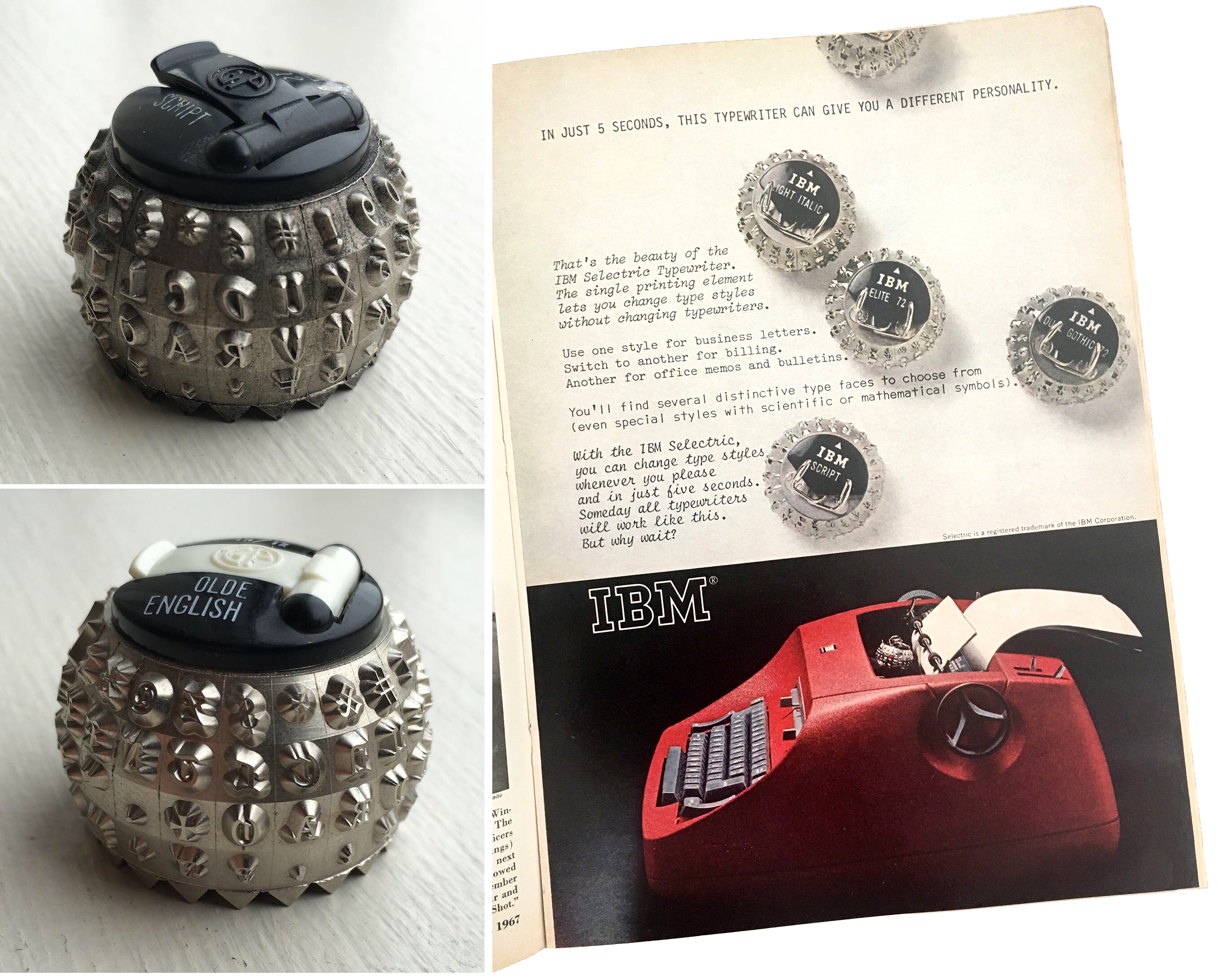 IBM Selectric font elements and ad