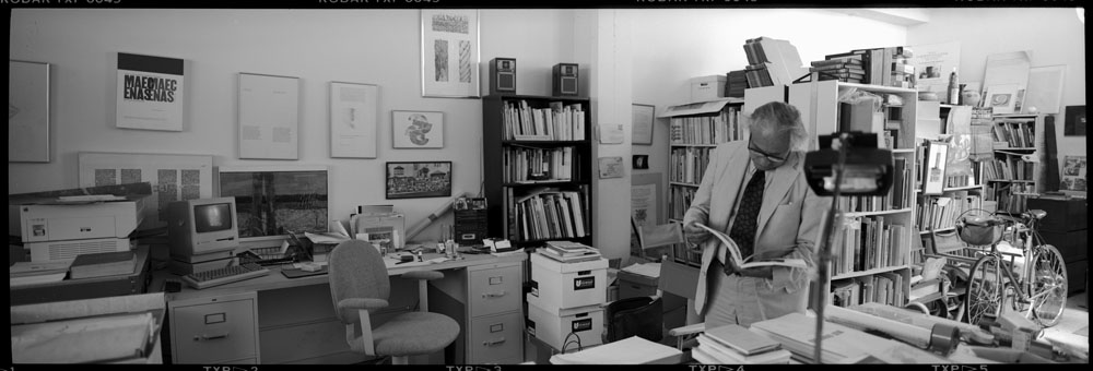 panoramic photo of Jack Stauffacher at his studio, Greenwood Press, 300 Broadway in San Francisco. Photos: Dennis Letbetter, 1991