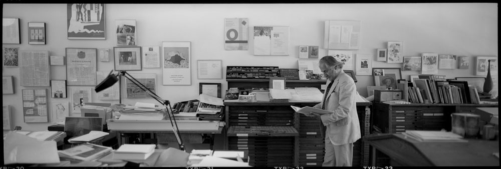 panoramic photo of Jack Stauffacher at his studio, Greenwood Press, 300 Broadway in San Francisco. Photo: Dennis Letbetter, 1991