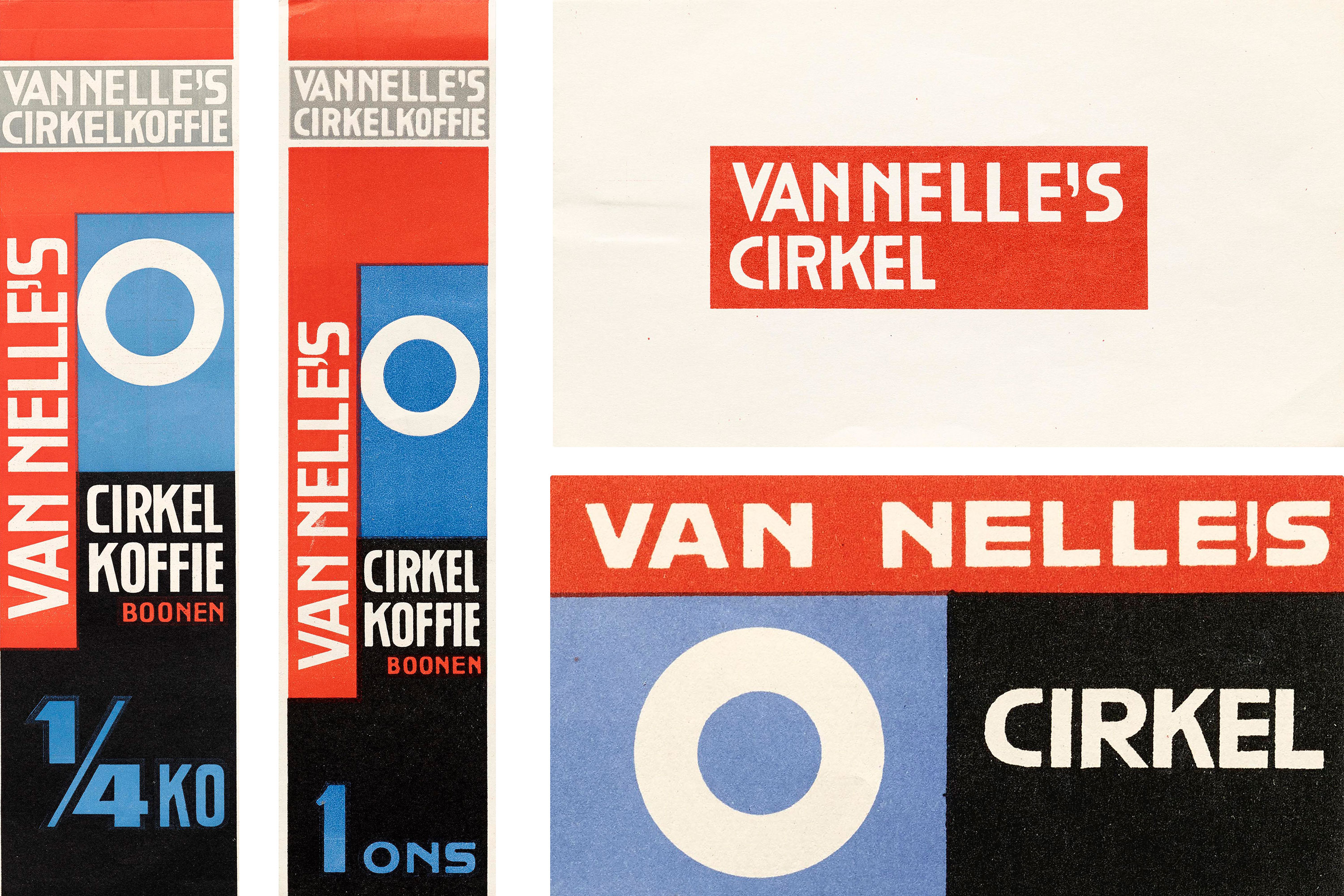 Jacob Jongert, Van Nelle's Cirkel coffee and coffee beans labels, Rotterdam, ca. 1930.