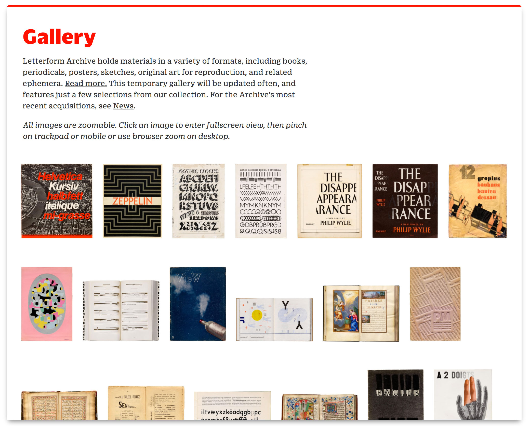 New Letterform Archive online gallery