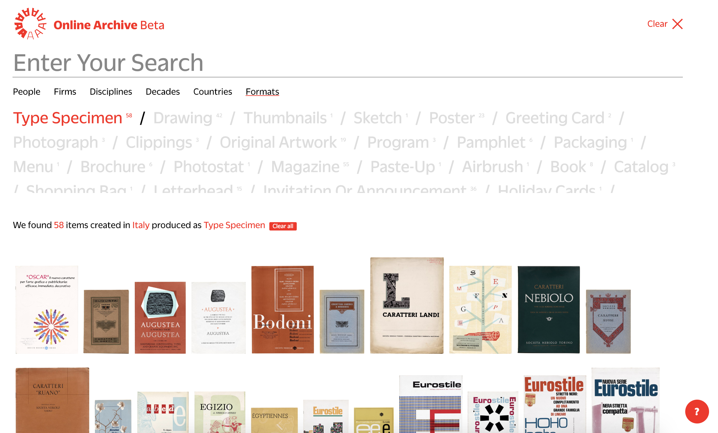 Letterform Archive's catalog search function