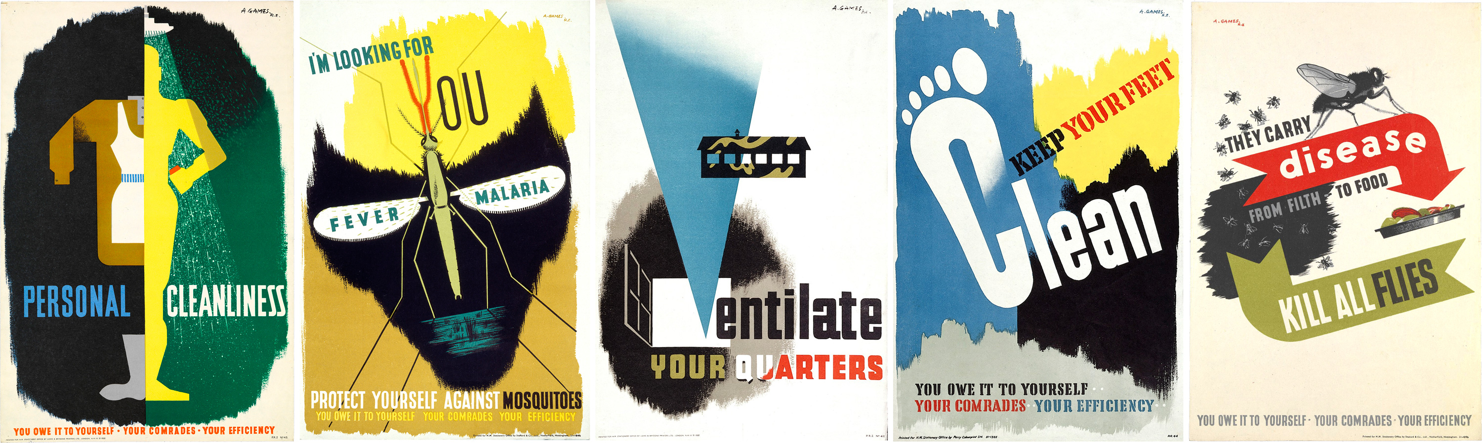 Posters for British War Office, 1941.