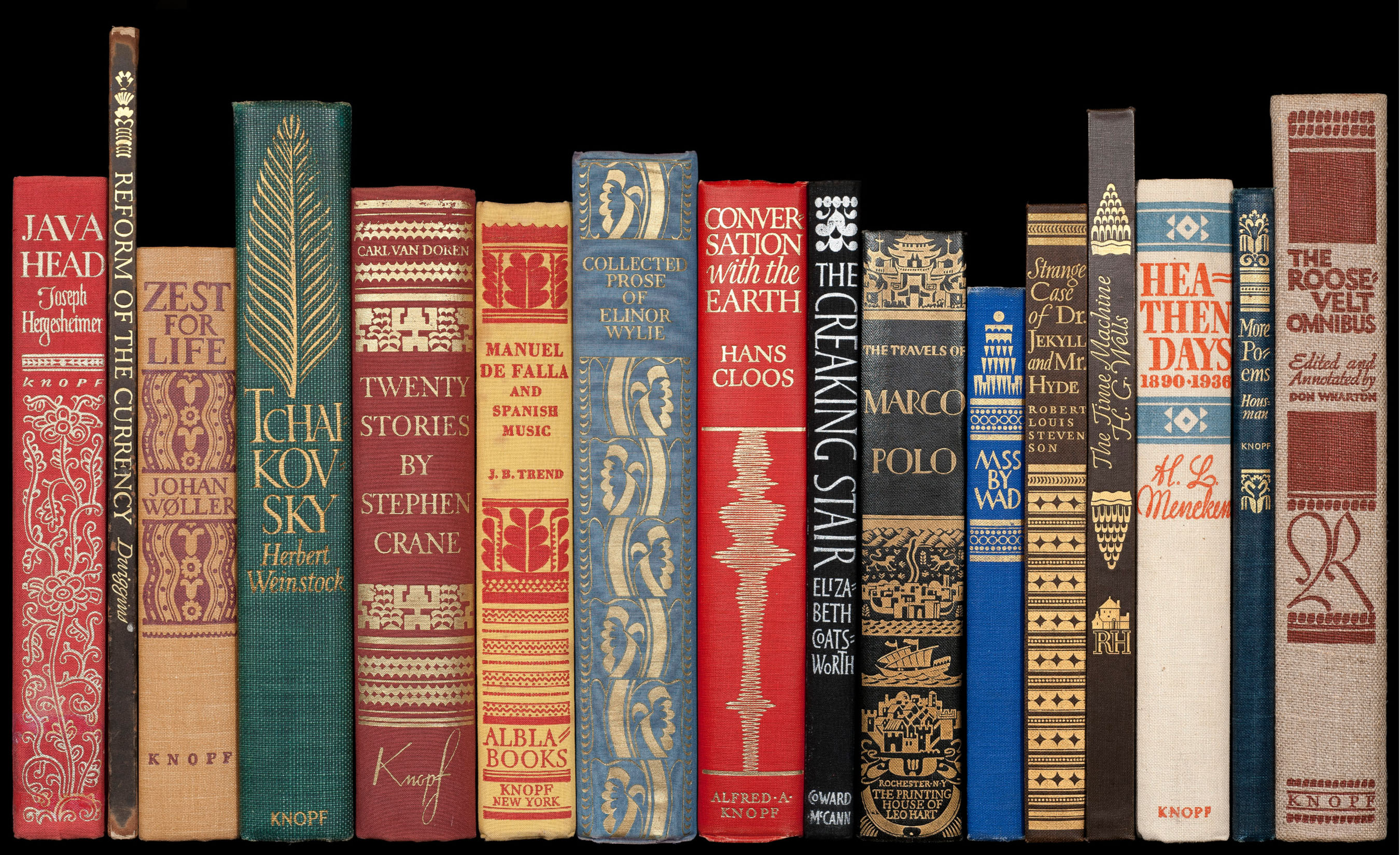 Book spines by W. A. Dwiggins