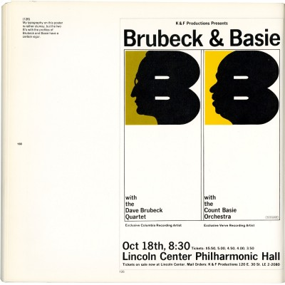 Milton Glaser, Brubeck & Basie poster, New York, ca. 1964. As seen in Milton Glaser: Graphic Design, The Overlook Press, New York, 1973.