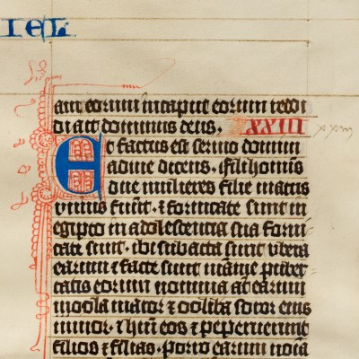 Anonymous scribe, Manuscript Bible Leaf on vellum, Germany, 1450.