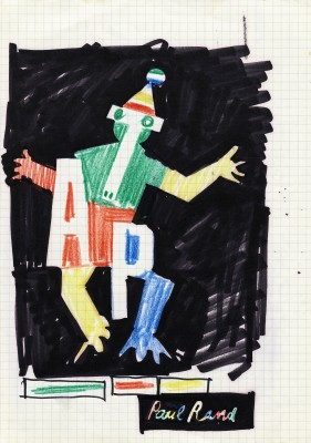 Sketch (one of four) for Tri-Arts Press poster, crayon and marker, ca. 1980.