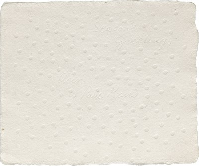 Greeting card from Ann & Paul Rand, blind embossed, date unknown.
