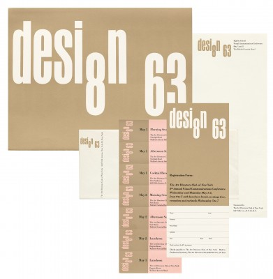 Design 63 promotional poster, registration form, tickets, stationery for the Art Director's Club, 1963.