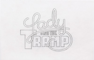 Title treatment sketch for Lady and the Tramp.