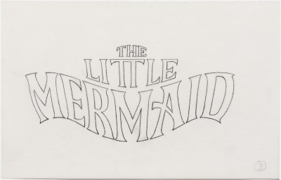 Title treatment sketch for The Little Mermaid.