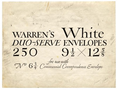 Original lettering for S. D. Warren, 1930s.