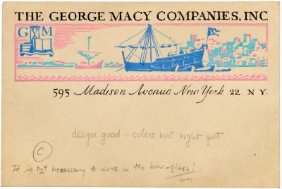 W. A. Dwiggins, study (one of six) for George R. Macy Company mailing label, late 1930s. Collection of Letterform Archive.