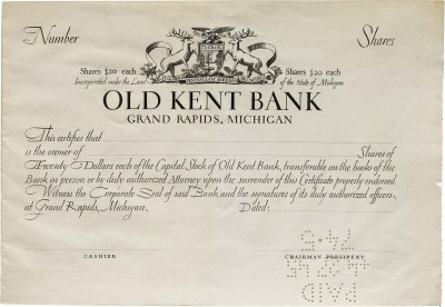 W. A. Dwiggins, design and lettering for Old Kent Bank stock certificate, 1929. Collection of Letterform Archive.
