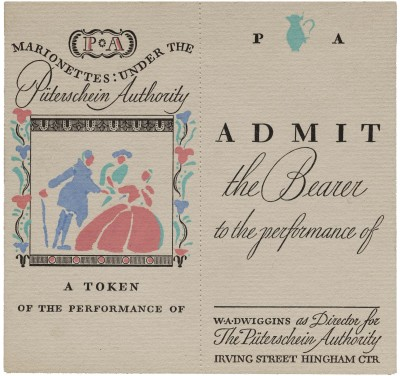 W. A. Dwiggins-designed and printed theater ticket, ca. 1937. Color applied by hand via stencil. Collection of Letterform Archive.