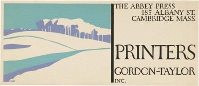 W. A. Dwiggins, blotter for Abbey Press, ca. 1930s. Collection of Letterform Archive.