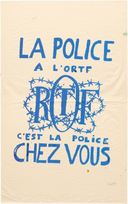 Atelier Populaire poster: La Police A L'ORTF, C'est La Police Chez Vous (Police at the ORTF Means Police in Your Home)