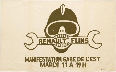Atelier Populaire poster: Renault Flins--Manifestation Gare de L'est Mardi 11 a 19h (Renault Flins--Event at Gare de l'Est, Tuesday 11 at 7pm)