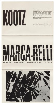 Elaine Lustig Cohen, exhibition catalog for Marca-Relli, Kootz Gallery, New York, 1959.