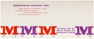 Elaine Lustig, moving notice for Meridian Books, New York.