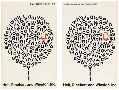 Elaine Lustig Cohen, Fall/Winter catalog for Holt, Reinhart and Winston, Inc., New York, 1965.