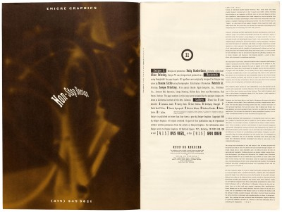 Inside cover and page 1, Emigre #11, Berkeley, Emigre Graphics, 1989.
