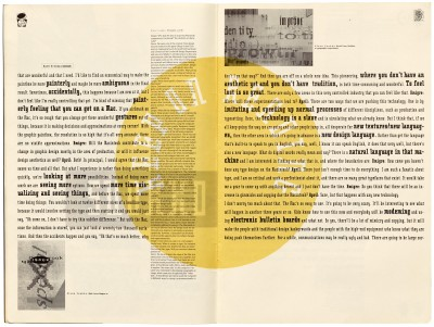 Pages 8–9, Emigre #11, Berkeley, Emigre Graphics, 1989.