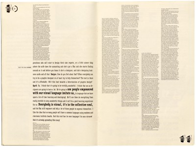 Pages 10–11, Emigre #11, Berkeley, Emigre Graphics, 1989.