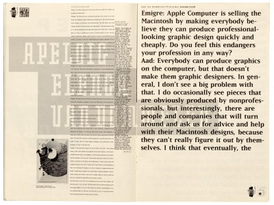 Pages 14–15, Emigre #11, Berkeley, Emigre Graphics, 1989.