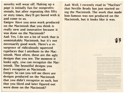 Pages 16–17, Emigre #11, Berkeley, Emigre Graphics, 1989.