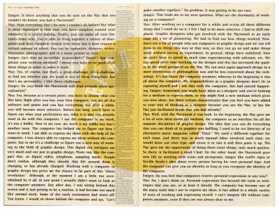 Pages 28–29, Emigre #11, Berkeley, Emigre Graphics, 1989.