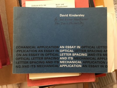 Book signed by designer and letter carver David Kindersley, 1966.