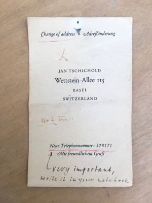 Business card with notes from Jan Tschichold.