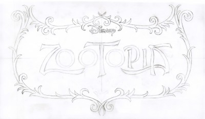 Title treatment sketch for Zootopia.