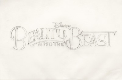 Title treatment sketch for Beauty and the Beast.