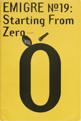 Cover of Emigre #19 Starting from Zero, 1991.