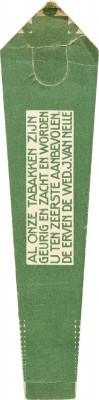 Jacob Jongert, Van Nelle's tobacco bookmark (back), Rotterdam, ca. 1925.