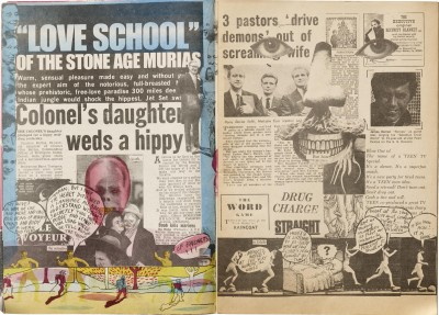 "Spread from Oz, No. 16, 1968, the purely photomontage ""Magic Theatre"" special issue."