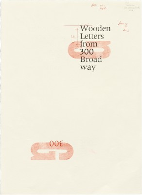 Proof print for Wooden Letters from 300 Broadway, 1998