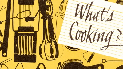 Philip Grushkin, book cover design for What's Cooking?: Recipes compiled by the Women's Division of the Englewood Jewish Community Center.