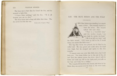 Angel DeCora, initial for Wigwam Stories, 1906 (first published 1902), Collection of LfA.