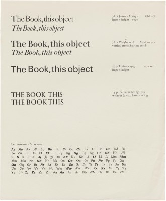 Jack Stauffacher, teaching materials for The Center for Typography Research, ca. 1980.