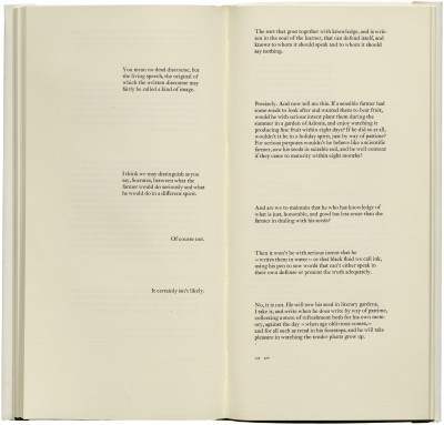 <cite>Phaedrus: a dialogue,</cite> produced by Jack Stauffacher and printed by Jim Faris (San Francisco: Greenwood Press, 1977), 126–127.
